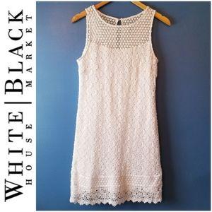 WHBM Crocheted Overlay Sleeveless White Dress